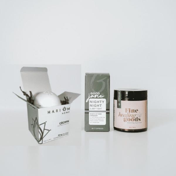 CBD Cream stick, Bath Salt, Bath Bomb- Big Night In- Crown Bath Bomb, Nighty Night, Fine Healing Goods
